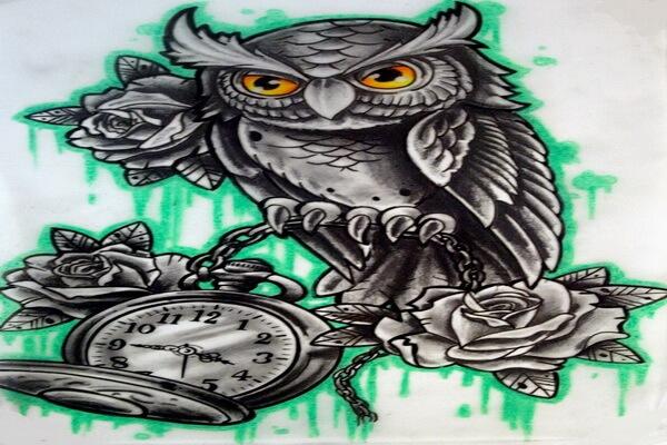 Что означает тату сова с часами