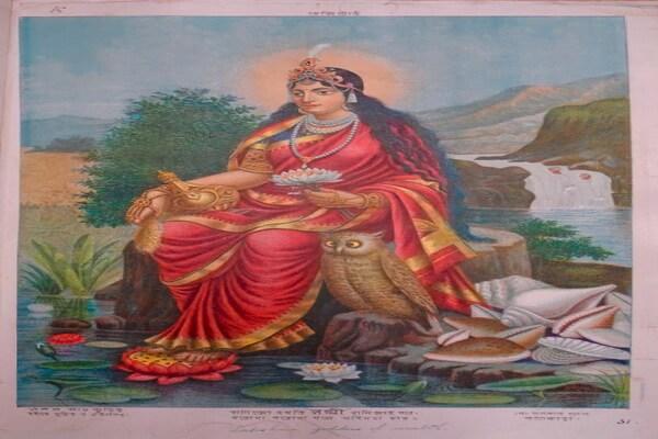 Совы в индийской живописи на картинах с богиней Лакшми