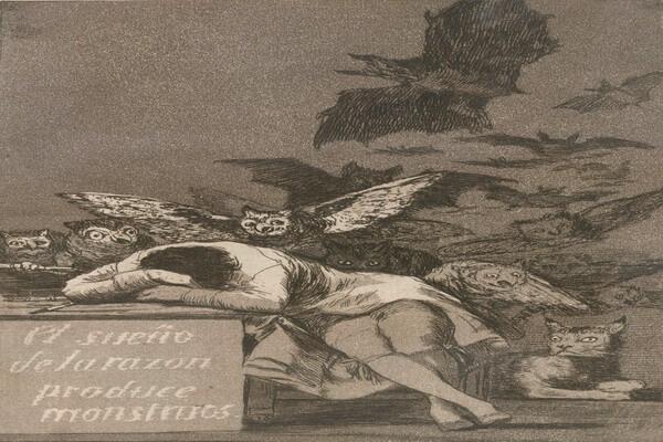 Совы в живописи Гойя на картине «Сон разума порождает чудовищ»