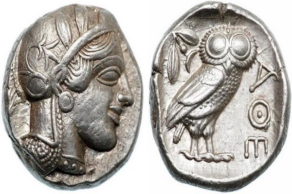 Афинская монета с совой (сычём)