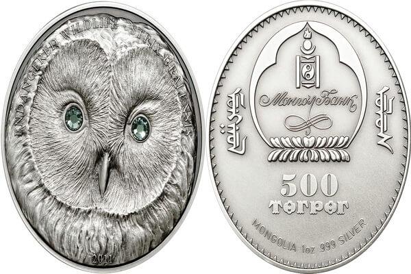 Современные коллекционные монеты с изображением совы