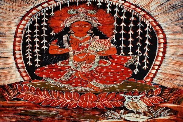 Современная картина богини Лакшми с совой