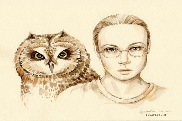 Художница Инга Пальцер и её рисунки сов