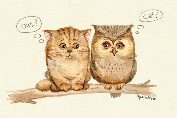 Иллюстрации Инги Пальцер с совами