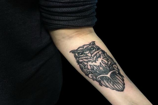 Татуировка филин - значение по месту расположения на теле