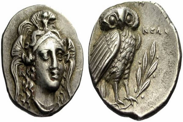 Сова на монете как символ мудрой Афины-Паллады